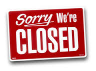 scritta Sorry we're closed