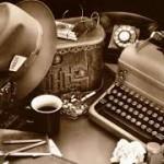 macchina da scrivere, cappello e tazza di caffè